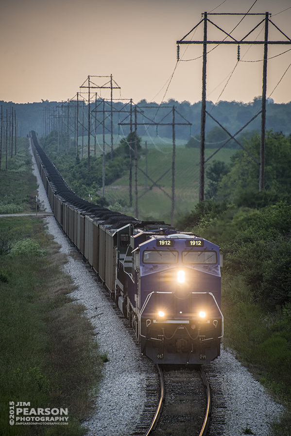 June 2, 2015 - SVTX 1912 with Evansville Western Railway's 4520 trailing, makes it's way up the Vectren Lead to the Sitran Coal Dock at West Franklin, IN, with a load of coal. In one of the shots you can see the train approaching the Illinois Terminal Heritage Unit 1072, which was getting ready to depart after the 1912 got into the dock's loop.