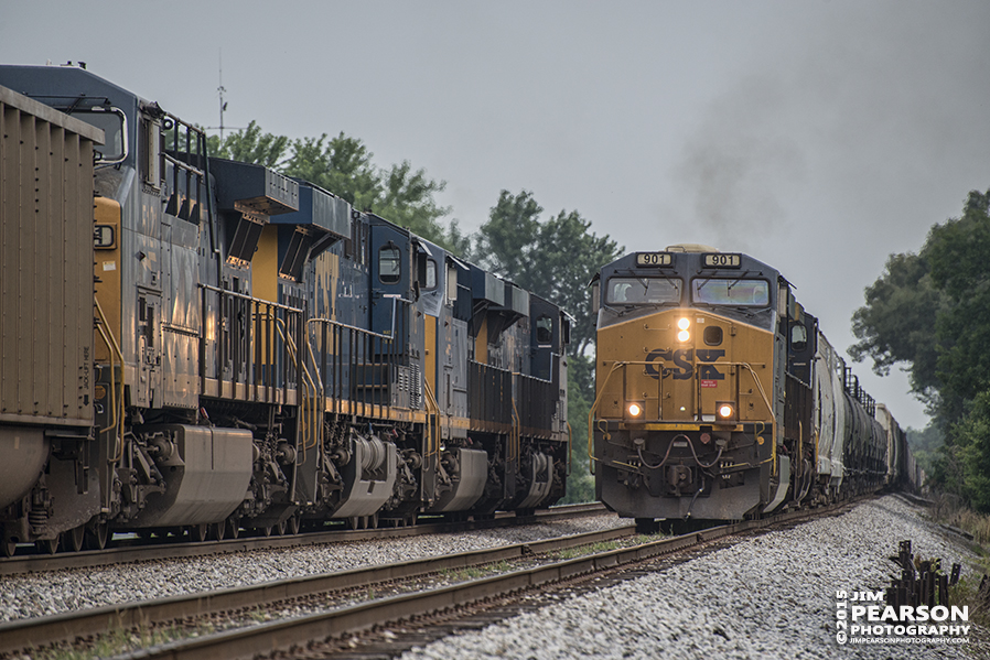 June 25, 2015 - Southbound CSX Q597, with engine 901 in the lead, meets E015, a northbound empty coal train, at Crofton, Ky as it makes it's way Nashville, Tn from Chicago, Ill on the Henderson Subdivision. - Tech Info: 1/2000sec, f/5.6, ISO 640, Lens: Nikon 70-300 @ 260mm with a Nikon D800 shot and processed in RAW. #jimstrainphotos