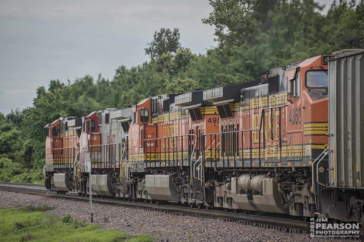 June 26, 2015 - A set of BNSF engines pull a heavy coal train south on Union Pacific's Chester Subdivision as they approach Gorham, Illinois. Traffic was being re-routed from across the river due to flooding. - Tech Info: 1/1250sec, f/5.6, ISO 450, Lens: Nikon 70-300 @ 195mm with a Nikon D800 shot and processed in RAW.