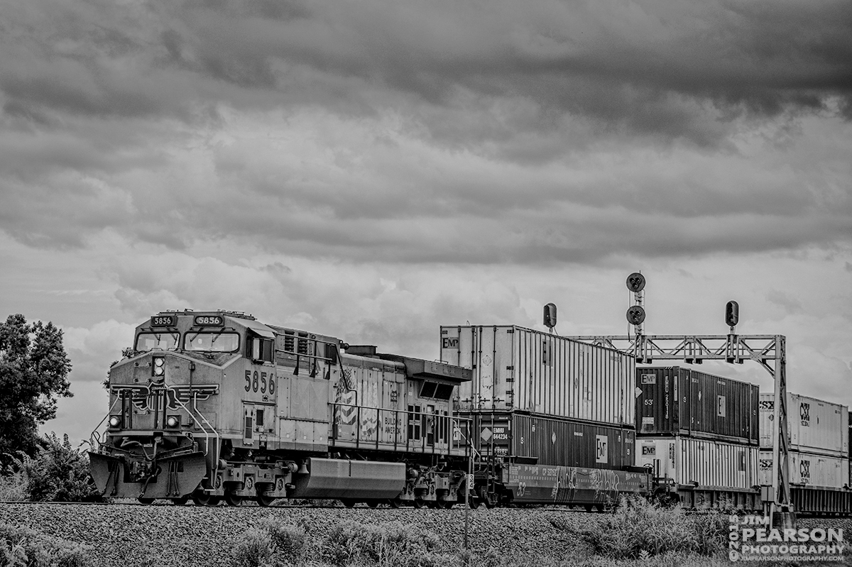 June 26, 2015 - Union Pacific's 5856 heads through the south end of Gorham, Illinois as it heads northbound on UP's Chester Subdivision with its intermodal cargo. - Tech Info: 1/1250sec, f/5.6, ISO 280, Lens: Nikon 70-300 @ 92mm with a Nikon D800 shot and processed in RAW.