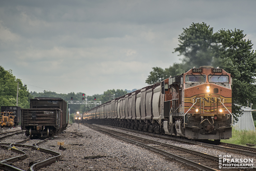 June 26, 2015 - BNSF engine 4599 leads a northbound grain train through the yards at Gorham, Illinois on the Chester Subdivision as another northbound UP freight waits in the background. - Tech Info: 1/1250 sec, f/5.6, ISO 360, Lens: Nikon 70-300 @ 300 mm with a Nikon D800 shot and processed in RAW. ?#?jimstrainphotos?