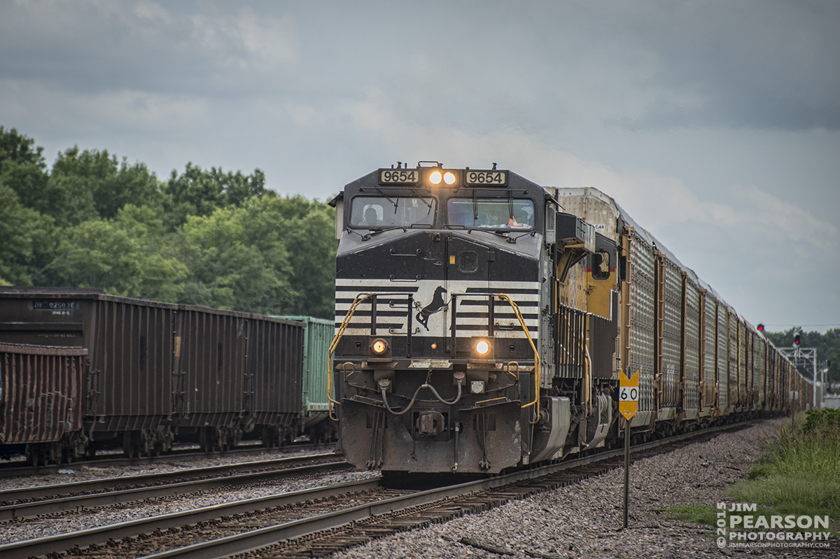June 26, 2015 - Norfolk Southern engine 9654 leads a northbound autorack train through Gorham, Illinois on the Chester Subdivision. - Tech Info: 1/1250sec, f/5.6, ISO 400, Lens: Nikon 70-300 @ 250mm with a Nikon D800 shot and processed in RAW.