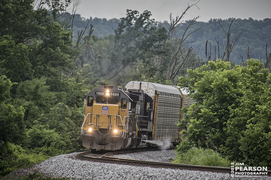 June 26, 2015 - Union Pacific's 1688 rounds the curve heading north on the Chester Subdivision approaching the La Rue Hills bridge at Wolf, Illinois with an autorack train. - Tech Info: 1/1250sec, f/5.6, ISO 720, Lens: Nikon 70-300 @ 270mm with a Nikon D800 shot and processed in RAW. #jimstrainphotos