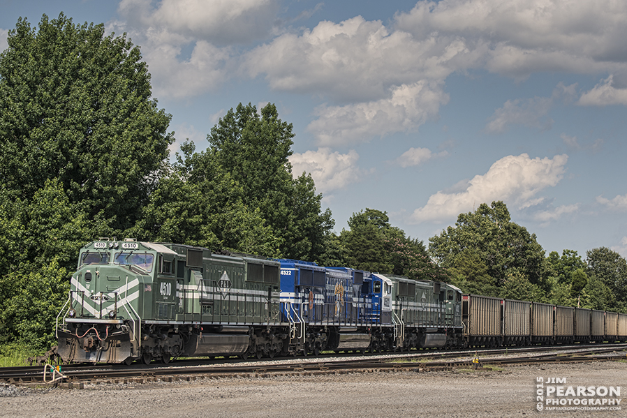 June 28, 2015 - Paducah and Louisville Railway loaded coal train sits on the main at West Yard in Madisonville, Ky with 4510, 4522 and 4512 as power, waiting on a crew to take the train south to Calvert City, Ky.  - Tech Info: 1/640sec, f/5.6, ISO 100, Lens: Nikon 70-300 @  78 mm with a Nikon D800 shot and processed in RAW. ?#?jimstrainphotos?