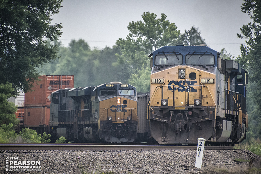 July 1, 2015 - CSX intermodal Q029, with engine 842 in the lead, prepares to pass loaded coal train N308 at the north end of Romney Siding in Nortonville, Ky as it heads south on the Henderson Subdivision. - Tech Info: 1/1600 sec, f/5.6, ISO 4000, Lens: Nikon 70-300 @ 300mm with a Nikon D800 shot and processed in RAW. ?#?jimstrainphotos?