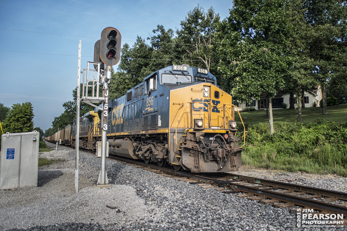 July 16, 2015 - A CSX empty coal train, with engine 856 in the lead, passes the signals at MP 153.3 approaching the Earlington Road Crossing in Richland, Ky as it heads north on the Paducah and Louisville Railway toward Madisonville, Ky to pickup another load of coal. - Tech Info: 1/1600sec, f/2.8, ISO 400, Lens: Sigma 24-70 @ 24mm with a Nikon D800 shot and processed in RAW.