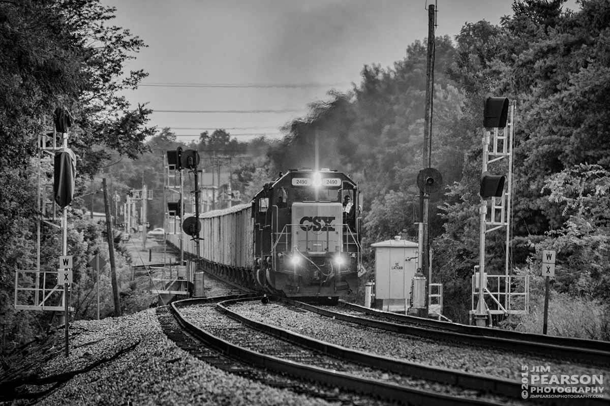 July 22, 2015 - CSX work train W007 passes the signals at the south end of Latham Siding as it moves it's loaded ballast train north on the Henderson Subdivision. - Tech Info: 1/2000sec, f/5.6, ISO 900, Lens: Nikon 70-300 @ 300mm with a Nikon D800 shot and processed in RAW.