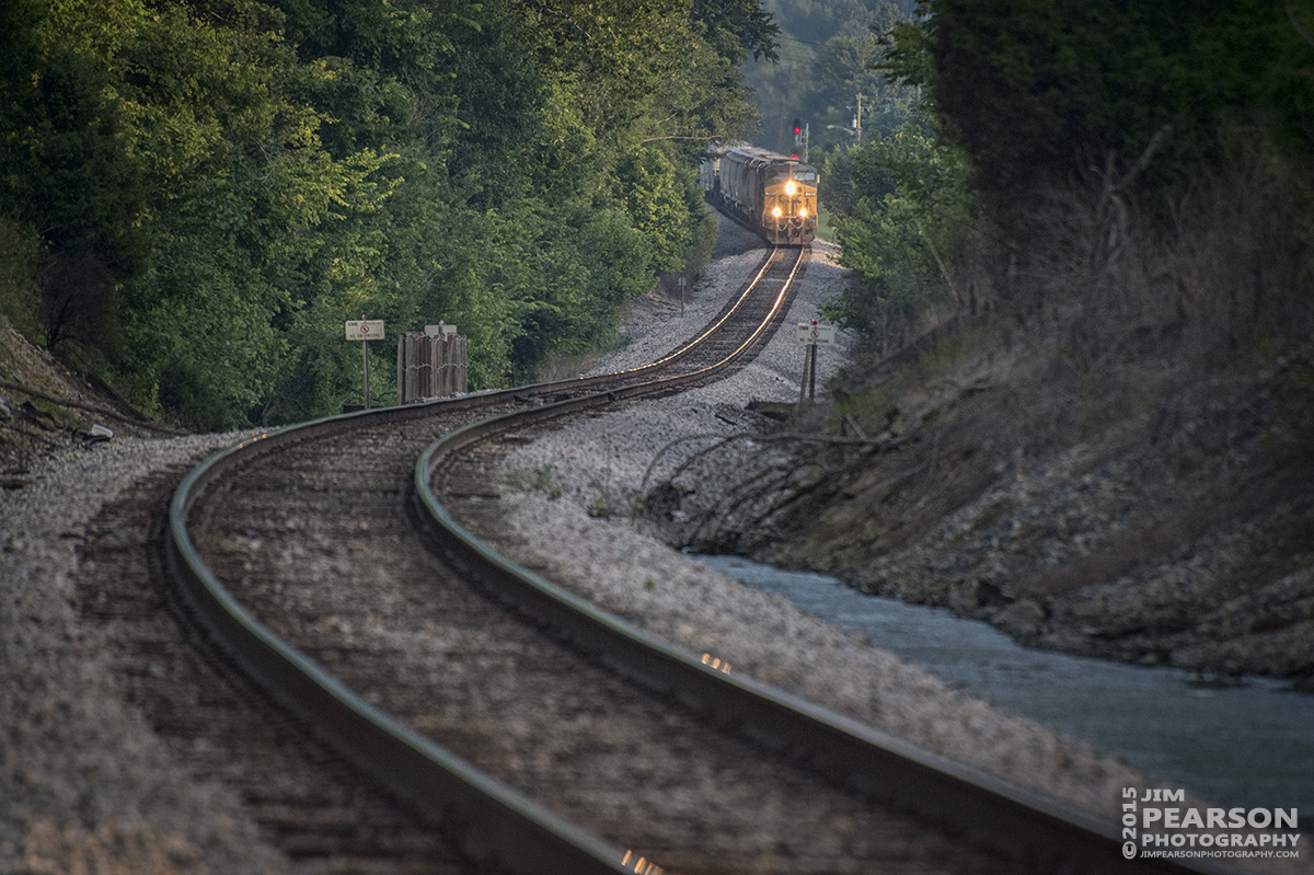 July 25, 2015 - CSX Q588-25, (Nashville, TN - Chicago, IL), heads up the grade from Mortons Gap, Ky as it heads north on the Henderson Subdivision. - Tech Info: 1/2000sec, f/5.6, ISO 4000, Lens: Nikon 70-300 @ 300mm with a Nikon D800 shot and processed in RAW.