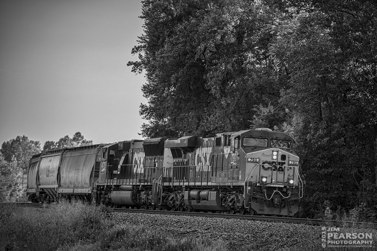 July 25, 2015 - CSX Q588-25, (Nashville, TN - Chicago, IL), rounds the curve at Nortonville, Ky as it heads north through the Romney siding on the Henderson Subdivision. - Tech Info: 1/2000sec, f/4.8, ISO 2000, Lens: Nikon 70-300 @ 145mm with a Nikon D800 shot and processed in RAW.