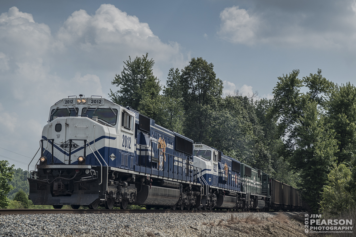 July 28, 2015 - Paducah and Louisville's University of Kentucky engines 2012 and 4522 lead a loaded coal train as it backs down the PeeVee Spur in Madisonville, Ky, to P&L's Warrior Lead in preparation for the train to head north this evening to Louisville. - Tech Info: 1/1000sec, f/7, ISO 180, Lens: Sigma 24-70 @ 70mm with a Nikon D800 shot and processed in RAW.