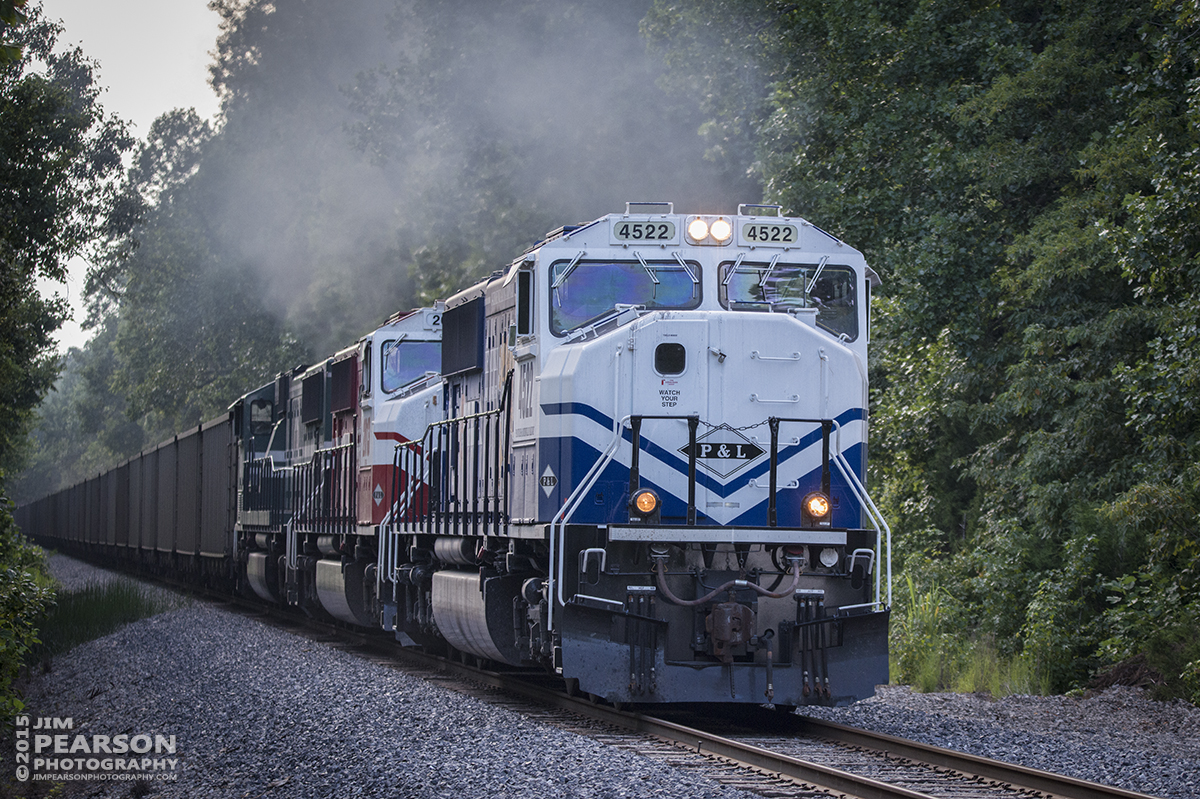 August 9, 2015 - Paducah and Louisville Railways UK locomotive 4522 leads the LG2 loaded coal train north, just outside Bremen, Ky with UL 2013 and PAL 4510 in trail, as they head north to Caneyville, Ky, where they met up with the southbound LG1. – Tech Info: 1/1250sec, f/5, ISO 1600, Lens: Nikon 70-300 @ 150mm with a Nikon D800 shot and processed in RAW.
