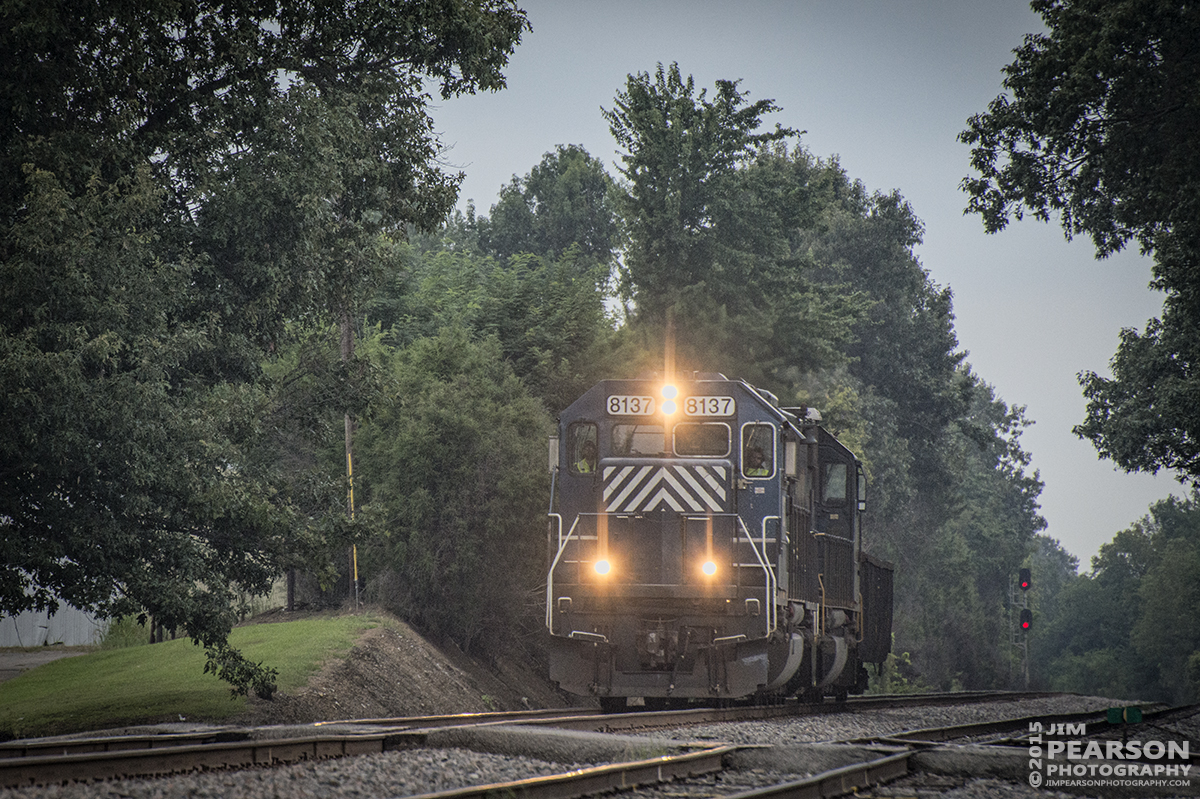 August 17, 2015 - CSX C022, with HLCX lease unit 8137 & CSX 8570, pull a lone hopper car south on the Henderson Subdivision at Hanson, Ky. – Tech Info: 1/2500sec, f/7, ISO 1600, Lens: Nikon 70-300 @ 300mm with a Nikon D800 shot and processed in RAW.