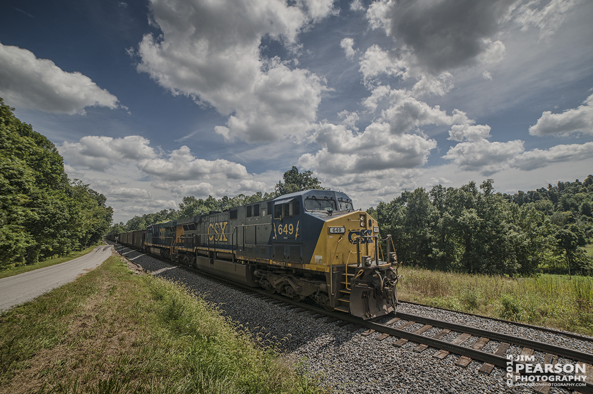 August 21, 2015 - CSX 649 leads a loaded coal train south at Claxton, Ky on the Paducah and Louisville Railway, as it makes it's way to Calvert City, Ky to drop the coal at Calvert City Terminal. - Tech Info all photos: 1/2000sec, f/6.3, ISO 140, Lens: Rokinon 14mm with a Nikon D800 shot and processed in RAW.