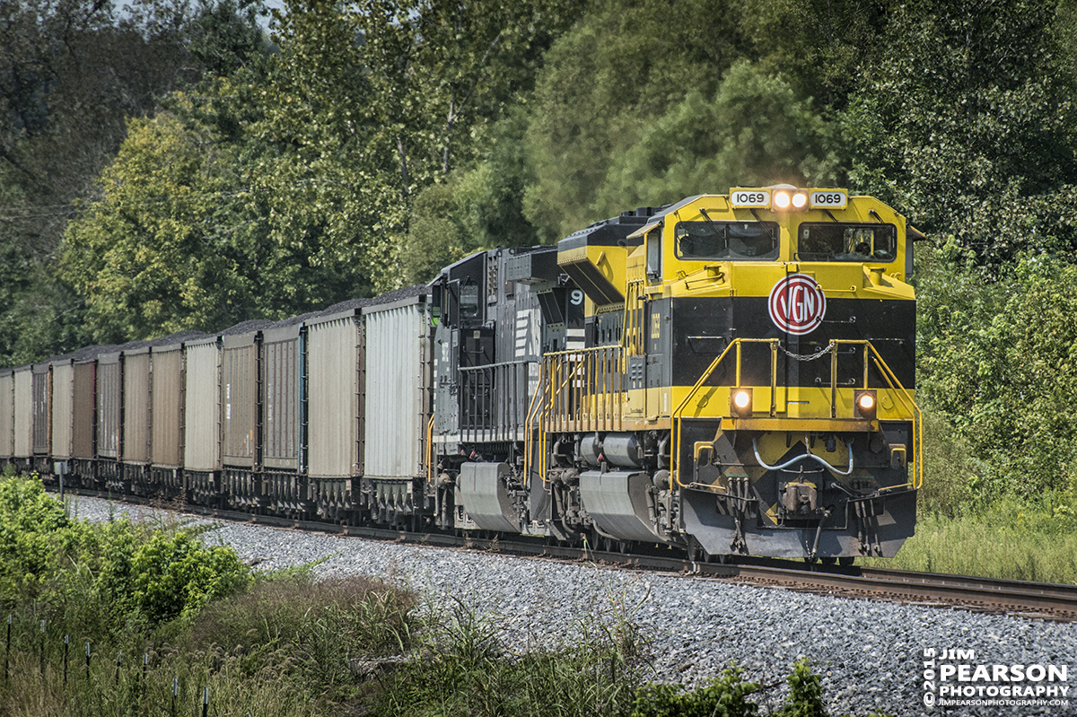 August 28, 2015 - Norfolk Southern's Heritage unit 1069, The Virginian, approaches the south end of the siding at Caneyvilly, Ky on the Paducah & Louisville Railway as it heads north with a loaded coal train. – Tech Info: 1/1250sec, f/13, ISO 1400, Lens: Nikon 70-300 @ 300mm with a Nikon D800 shot and processed in RAW.