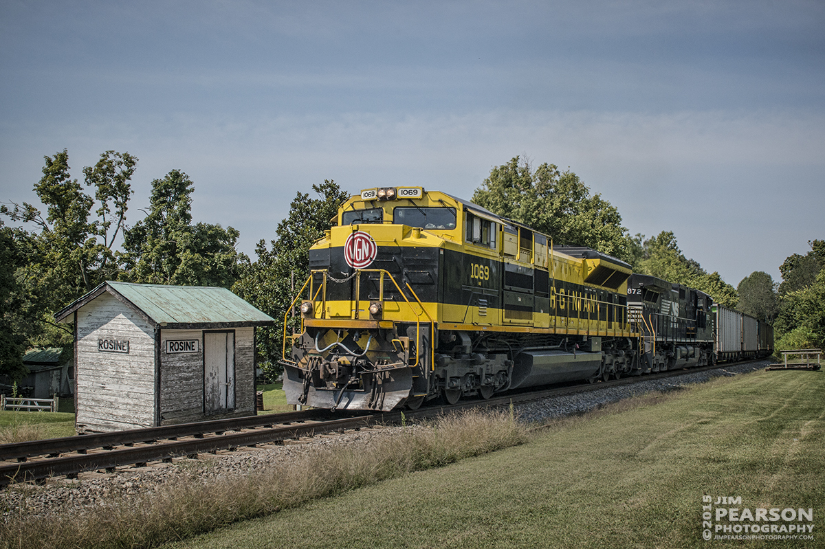 August 28, 2015 - Norfolk Southern's Heritage unit 1069, The Virginian, passes an old trackside building at Rosine, Ky on the Paducah & Louisville Railway as it heads north with a loaded coal train. – Tech Info: 1/1250sec, f/13, ISO 560, Lens: Sigma 24-70 @ 31mm with a Nikon D800 shot and processed in RAW.
