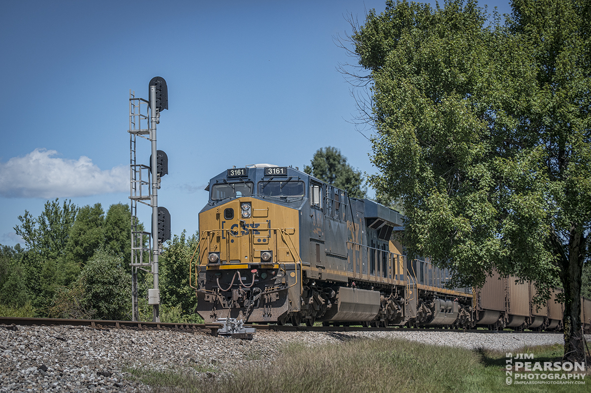 August 20, 2015 - A CSX loaded coal train with engine 3171 in the lead heads through the north end of Crofton, Ky as it heads south on the Henderson Subdivision. - Tech Info all photos: 1/2500sec, f/5.6, ISO 280, Lens: Nikon 70-300 @ 92mm with a Nikon D800 shot and processed in RAW.