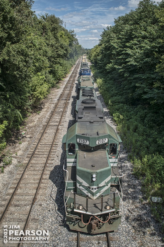 August 21, 2015 – Paducah & Louisville Railway's 2107 heads south approaching the yard at Princeton, Ky as it heads up a load of military equipment. - Tech Info: 1/1000sec, f/9, ISO 100, Lens: Sigma 24-70 @ 24mm on a Nikon D800 shot and processed in RAW.