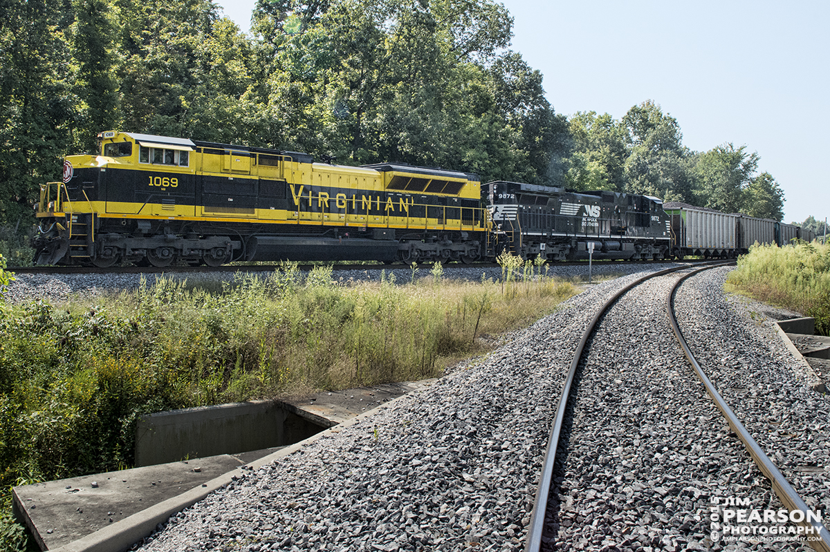 August 28, 2015 - Norfolk Southern's Heritage unit 1069, The Virginian, round a curve at McHenry, ky as it heads north on the Paducah & Louisville Railway with a loaded coal train. – Tech Info: 1/1250sec, f/13, ISO 2800, Lens: Sigma 24-70 @ 24mm with a Nikon D800 shot and processed in RAW.