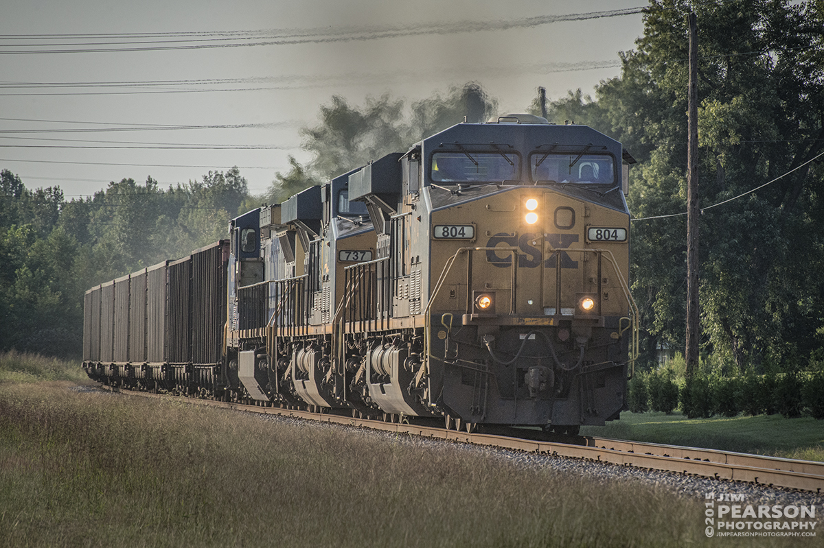 August 31, 2015 - Loaded coal train CSX N208 at the north end of Earlington, Ky as it heads south on the Henderson Subdivision. – Tech Info: 1/1250sec, f/13, ISO 1800, Lens: Nikon 70-300 @ 270mm with a Nikon D800 shot and processed in RAW.