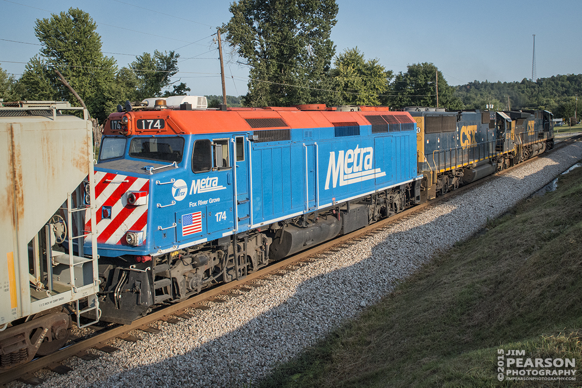 August 31, 2015 - CSX Q645 heads into Mortons Gap, Ky with Metra's Fox River Grove FP40 engine 174 as it's third unit, as it heads south on the Henderson Subdivision. – Tech Info: 1/1250sec, f/13, ISO 2200, Lens: Sigma 24-70 @ 24mm with a Nikon D800 shot and processed in RAW.