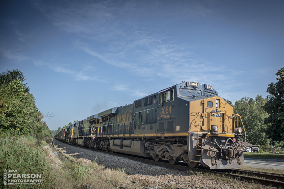September 8, 2015 - CSX loaded DPU coal train N101-07 heads out of Mortons Gap, Ky as it approaches the north end of Nortonville siding as it head south on the Henderson Subdivision. - Tech Info: 1/1000sec, f/4, ISO 125, Lens: Sigma 24-70 @ 24mm on a Nikon D800 shot and processed in RAW.