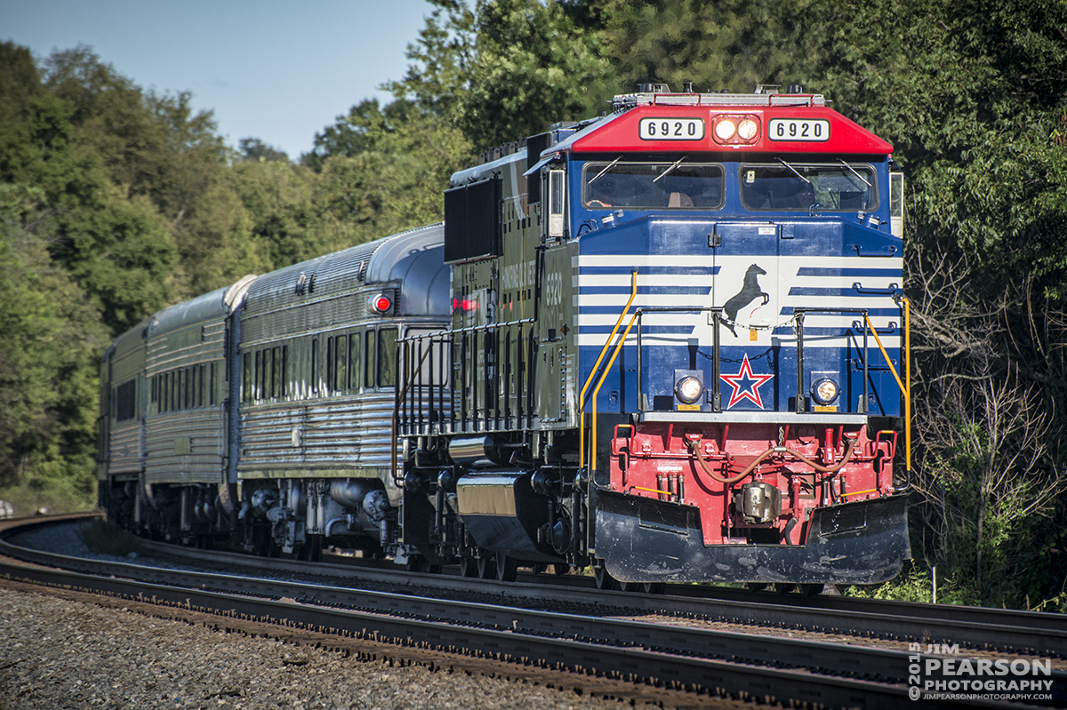 September 13, 2015 - Norfolk Southern's Heritage Veteran's Unit 6920 pulls a passenger train on the NS Mainline at Chattanooga, Tennessee as it returns from a round trip to Cleveland, Tennessee, approaching the Jersey Pike Crossing, during the Tennessee Valley Railway Museum's 2015 Railfest. 6920 was pressed into service when they had a issue with the firebox on Southern 4501, reportedly due to bad coal.  - Tech Info all photos: 1/1250sec, f/7, ISO 400, Lens: Nikon 70-300 @ 300mm with a Nikon D800 shot and processed in RAW.