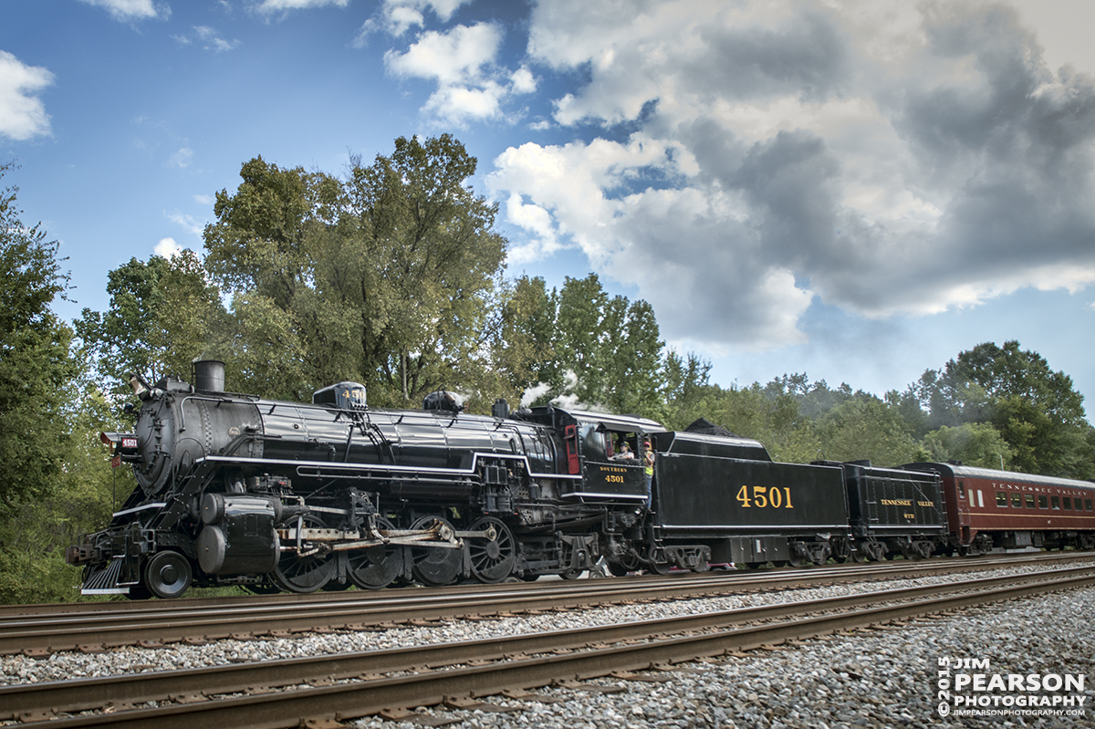 """September 12, 2015 - The Tennessee Valley Railroad Museum's Southern Railway 4501 heads into the wye at Citico Junction on the Norfolk Southern Mainline at Chattanooga, Tennessee after returning with a loaded passenger train from Cleveland, Tennessee during the Museum's 2015 Railfest. The train was turned in the they wye and then headed back to the TVRM station. 4501 was built by Baldwin Locomotive Works in 1911 for the Southern Railway, the 4501 was the first of its class on that railroad. The wheel arrangement is a 2-8-2, known as a Mikado since the first of this type were sold to Japan. 4501 served the Southern until the 1940s when the railroad began buying diesel locomotives and phasing out steam operations. It then then saw service on a small coal-hauling railroad in Kentucky. Since the mid-1960s, 4501 has pulled countless passenger excursion trains across the Southern (later Norfolk Southern) Railway. The 4501 ended its service in 1999 due to rising maintenance costs. However, with the start of Norfolk Southern's """"21st Century Steam"""" program, the 4501 returned to service this year. Tech Info all photos: 1/1000sec, f/5.6, ISO 720, Lens: Sigma 24-70 @ 24mm with a Nikon D800 shot and processed in RAW."""