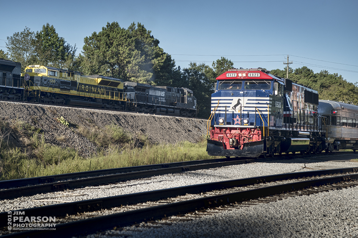September 13, 2015 - Norfolk Southern Heritage unit 1069, The Virginian. rolls past NS 6920, the Honoring Our Veterans unit, as it rolls east on a manifest train at the Tennessee Valley Railroad Museum at Chattanooga, Tennessee. The Veterans unit just returned with a loaded passenger train from Cleveland, Tennessee during the Museum's 2015 Railfest. It was a rare stand-in for Southern 4501 that had fire box issues with it's last run. - Tech Info: 1/1250sec, f/7, ISO 320, Lens: Sigma 24-70 @ 70mm with a Nikon D800 shot and processed in RAW.