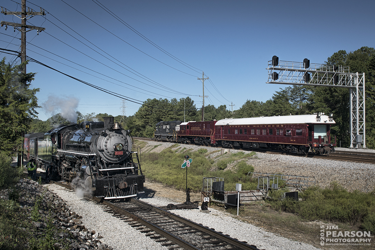 September 13, 2015 - Tennessee Valley Railroad Museum's Southern Railway 4501, a Baldwin 2-8-2 built in 1911, sits in the station at Chattanooga, Tennessee as a Norfolk Southern Geometry Train heads west in the NS mainline, during the TVRM's 2015 Railfest. Tech Info all photos: 1/1250sec, f/10, ISO 280, Lens: Sigma 24-70 @ 31mm with a Nikon D800 shot and processed in RAW.
