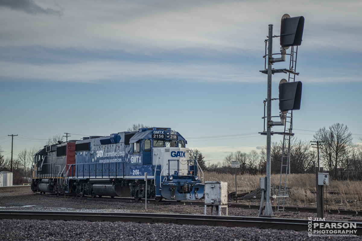 January 17, 2016 - Ex-Cotton Belt engine (UP1963) tied to GMTX/GATX 2156 at one of the crossovers in Mount Vernon, Illinois, waiting for a crew. I understand this  location has been used as a tie down point here lately. - Tech Info: Shot with a Nikon D800 shot and processed in RAW.