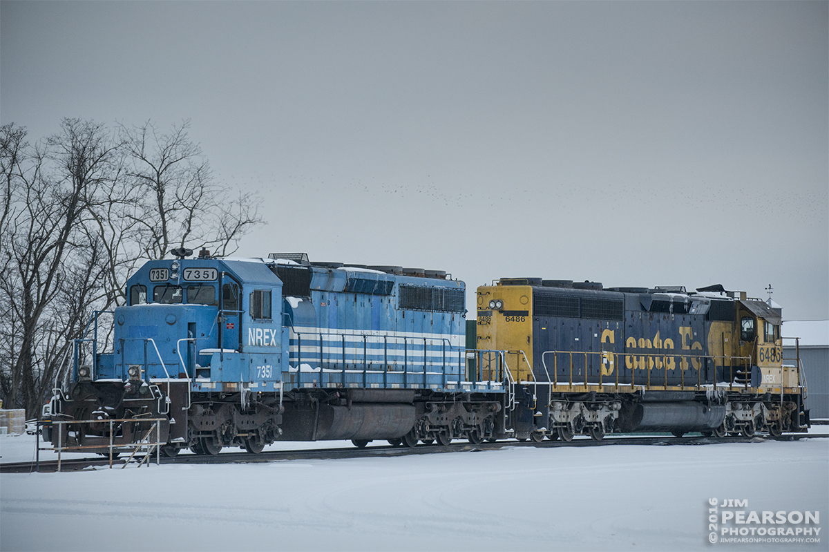 January 20, 2016 - Lease units NREX 7351 (ex-MILW 184 SD40-2) and NREX ex-Santa Fe 6486 (ATSF 5692 SD45-2) sit in the yard area behind the Evansville Western Railway offices at Mount Vernon, Indiana. - Tech Info: 1/1000 | f/4.8 | ISO 1100 | Lens: Nikon 70-300 @ 116mm with a Nikon D800 shot and processed in RAW.