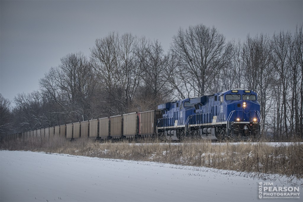 "January 20, 2016 - SavaTrans' SS1 makes its way north with a empty coal train with SVTX 1986 and 1982 as power, from the Savatrans Dock at West Franklin,IN toward Akin, IL. The Chris Cline Group are owners of the company ""Savatrans"" which purchased three ES44AC locomotives numbered to represent the Penn State Championship football years # 1912, 1982, & 1986. Operating from Sugar Camp Mine in Akin, IL to Abee, IN near Mount Vernon/West Franklin area. - Tech Info: Shot with a Nikon D800 and processed in RAW. ?#?jimstrainphotos?"