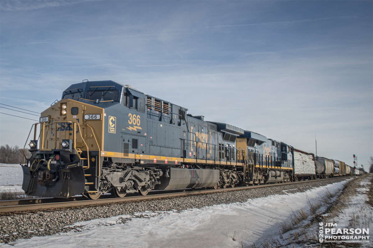 January 20, 2016 - CSX Q688, with engine 366 with the Chessie System emblem on it, passes through the north end of Robards, Ky as it heads north on the Henderson Subdivision. - Tech Info: 1/1250 | f/2.8 | ISO 100 | Lens: Sigma 24-70 @ 26mm with a Nikon D800 shot and processed in RAW.