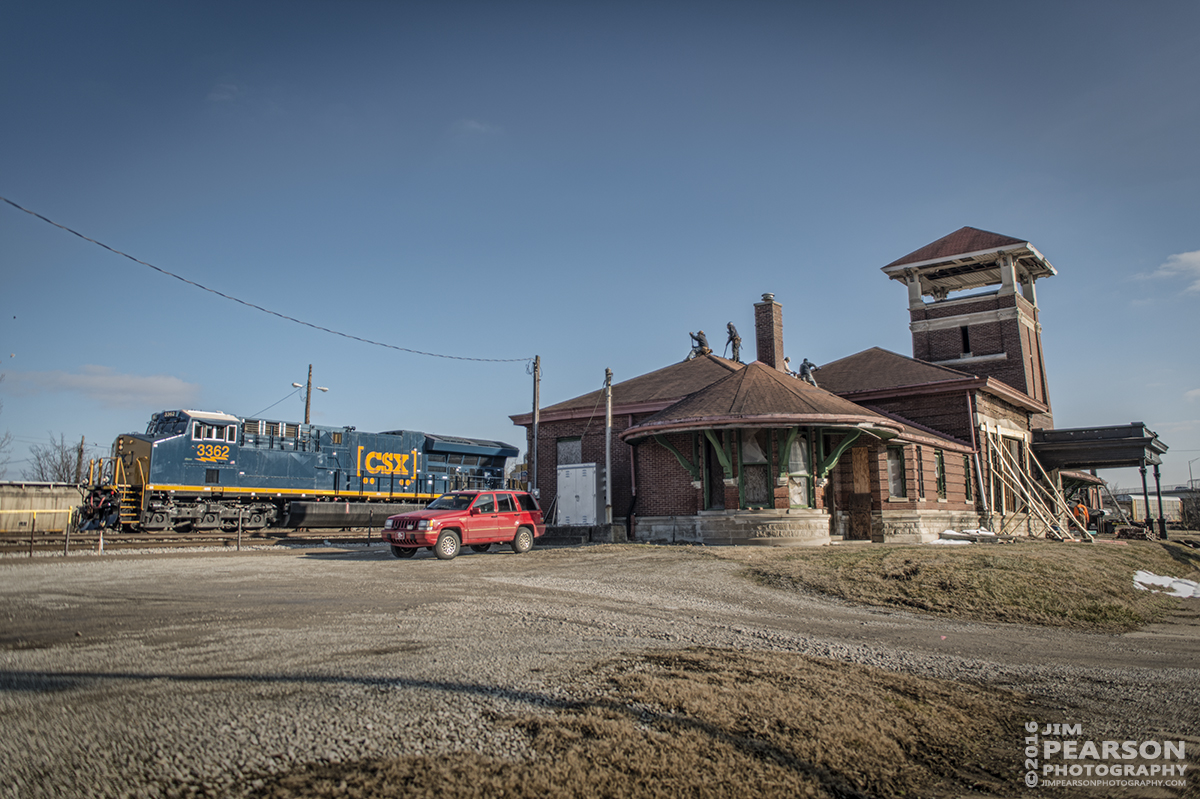 January 27, 2016 - CSX Q294 passes the old Louisville and Nashville Railroad depot at Henderson, Ky as it heads north on the Henderson Subdivision. Workers have began the task of starting to restore the old station that was saved from demolition. - Tech Info: 1/1250 | f/2.8 | ISO 160 | Lens: Sigma 24-70 @ 24mm with a Nikon D800 shot and processed in RAW. ‪#‎jimstrainphotos‬ Here's where you can see what's going on with the project: https://www.facebook.com/hendersontraindepot?fref=nf