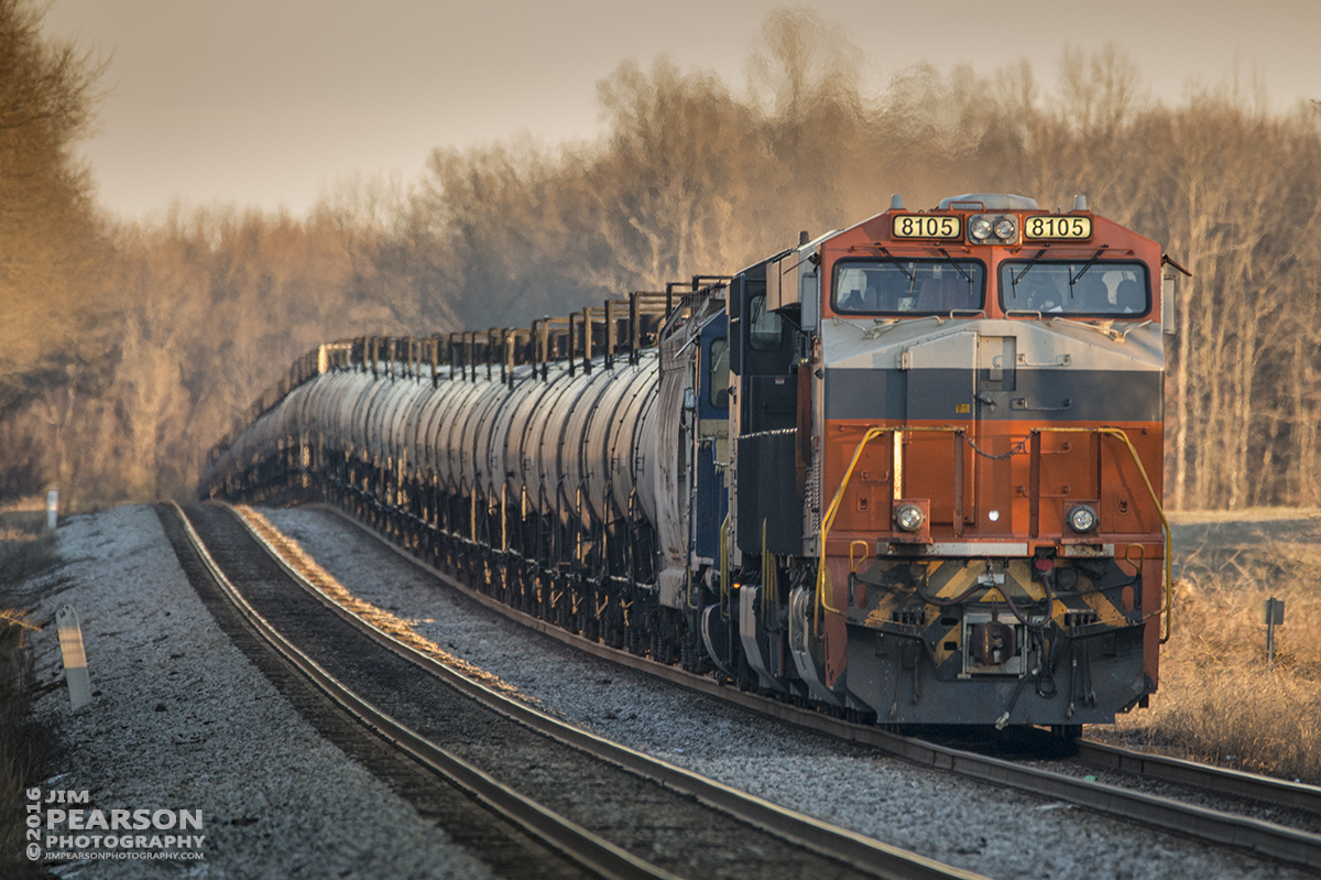 January 28, 2016 - CSX empty tank train K442-27 sits in the siding at the north end of Cedar Hill, Tennessee with Norfolk Southern's Interstate Heritage Unit 8105 in the lead as they wait for a southbound before heading on north on the Henderson Subdivision. - Tech Info: 1/250 | f/6.3 | ISO 1100 | Lens: Sigma 150-600 @ 600mm with a Nikon D800 shot and processed in RAW.