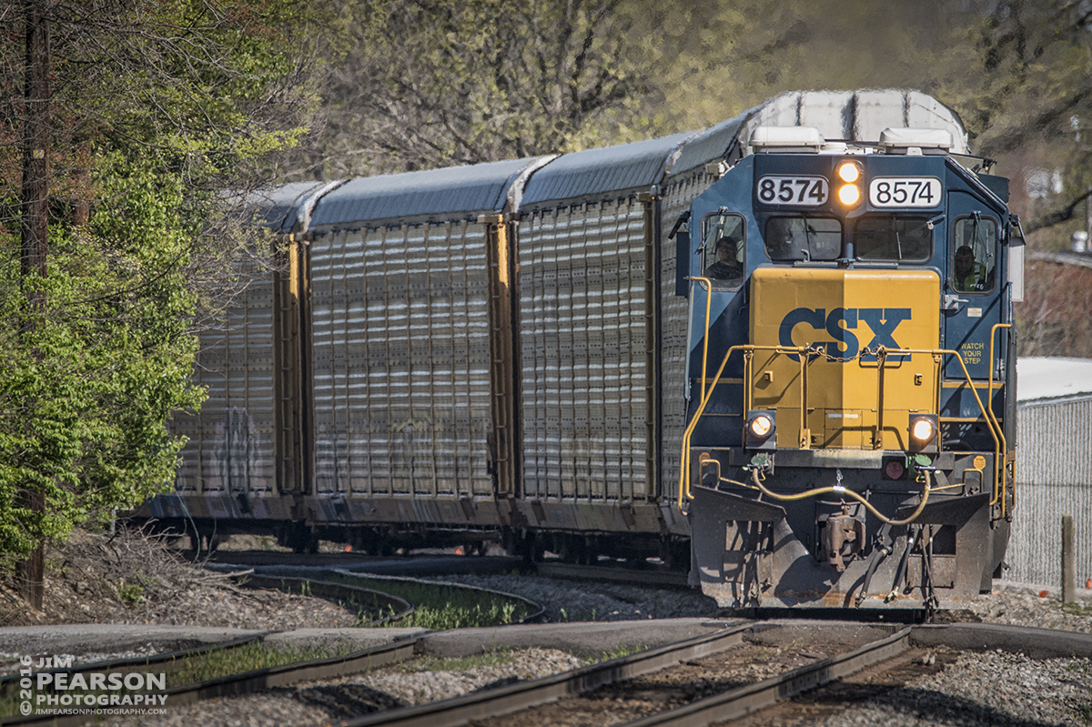 April 13, 2016 - CSXT 8574 rounds a curve as it heads south at Princeton, IN with a manifest train toward Evansville, IN. - Tech Info: 1/2000 | f/6 | ISO 1250 | Lens: Sigma 150-600 @ 500mm on a Nikon D800 shot and processed in RAW.