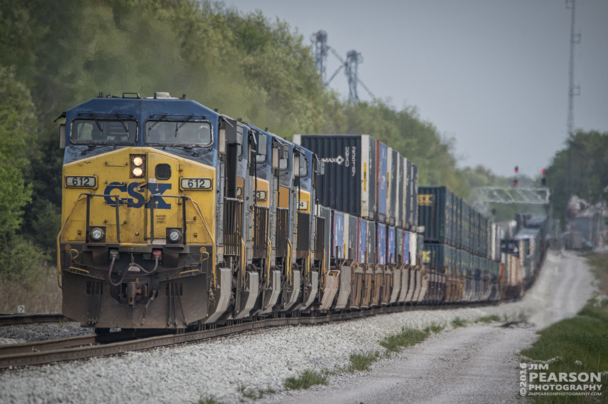 April 19, 2016 - CSXT 612 leads a northbound intermodal up the yard track at the north end of Pembroke as it pulls into the yard at Casky for fuel and a crew change before heading on north at Hopkinsville, Ky on the Henderson Subdivision.. - Tech Info: 1/2500 | f/8.5 | ISO 1400 | Lens: Sigma 150-600 with a 1.4 teleconverter @ 750mm on a Nikon D800 shot and processed in RAW.