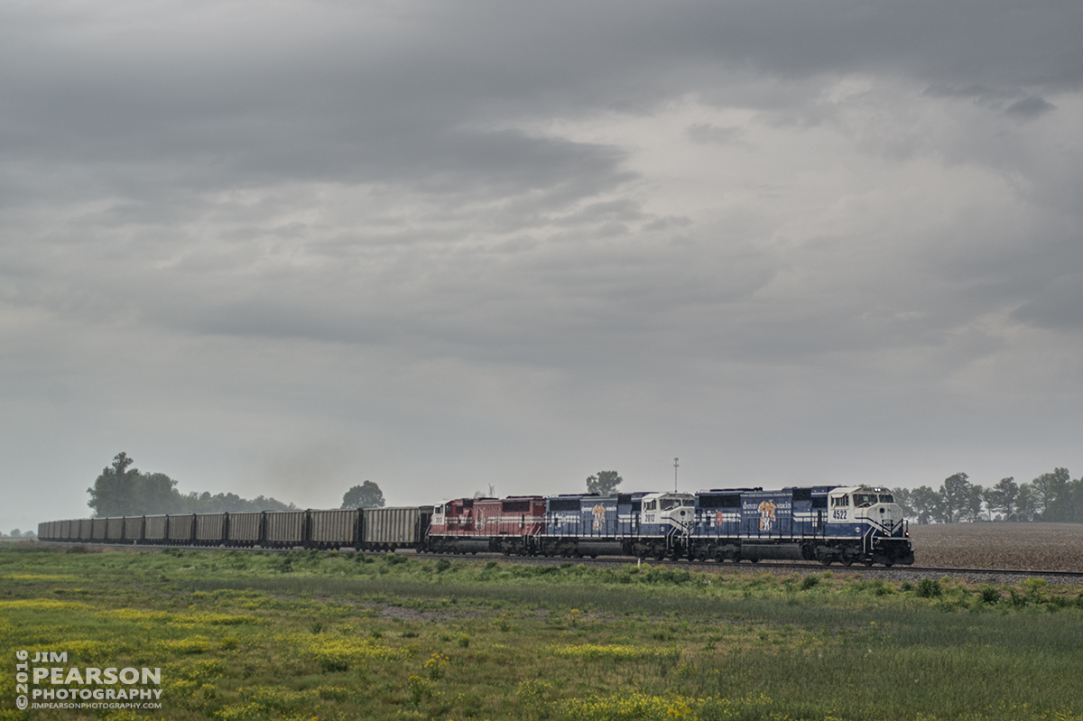 April 27, 2016 - CSX Z462-27 (Paducah & Louisville Railway WW1, Louisville Gas & Electric) loaded coal train heads east on CSX's Morganfield Branch approaching Nebo, Ky with PAL UK engines 4522 and 2012 along with UofL 2013 as power, after picking up a load of coal at Dotki Mine in Clay, Ky. - Tech Info: 1/1250 | f/5 | ISO 250 | Lens: Sigma 24-70 @ 46mm on a Nikon D800 shot and processed in RAW.