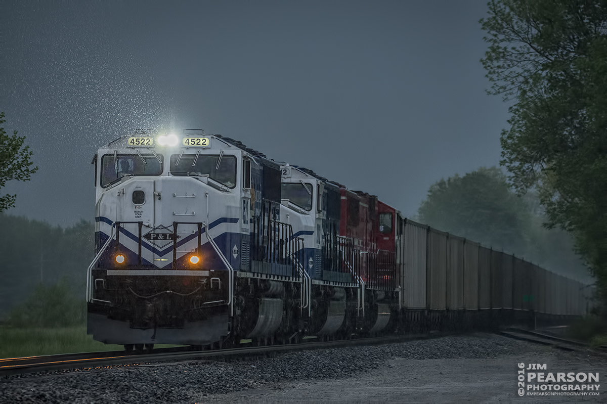 April 27, 2016 - Paducah & Louisville Railway WW1, (Louisville Gas & Electric) heads north through the rain with a loaded coal train at Beaver Dam, Ky with PAL UK engines 4522 and 2012 along with UofL 2013 as power. - Tech Info: 1/400 | f/5.3 | ISO 4000 | Lens: Sigma 150-600 @ 250mm on a Nikon D800 shot and processed in RAW.