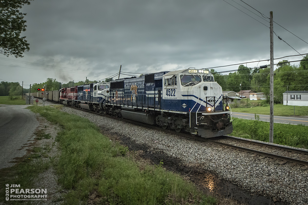 April 27, 2016 - Paducah & Louisville Railway WW1, (Louisville Gas & Electric) chases a heavy storm north with a loaded coal train at McHenry, Ky with PAL UK engines 4522 and 2012 along with UofL 2013 as power. - Tech Info: 1/400 | f/2.8 | ISO 3600 | Lens: Rokinon 14mm on a Nikon D800 shot and processed in RAW.