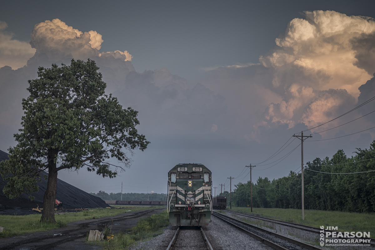 May 10, 2016 - A Paducah and Louisville Railway DPU coal train rounds the loop at the Calvert City Loadout at Calvert City, Kentucky. I think this is the first time I can recall finding a PAL train with DPU units. It had four on the front and four on the rear of the train as it moved through the loop. - Tech Info: 1/1250 | f/5 | ISO 140 | Lens: Sigma 24-70 @ 70mm on a Nikon D800 shot and processed in RAW.