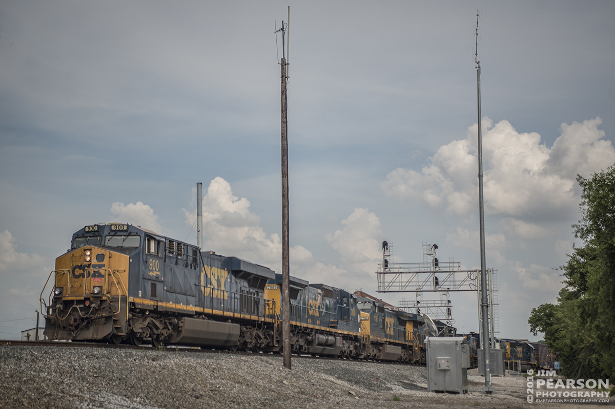 June 1, 2016 – CSX local J724-01 moves north at Henderson, Ky after combining Q586, (a total of 8 engines with unit 900 leading) with their train on the Henderson Subdivision, after the Q586 crew ran out of time before reaching Evansville, IN. - Tech Info: 1/3200 | f/2.8 | ISO 100 | Lens: Sigma 24-70 @ 70mm with a Nikon D800 shot and processed in RAW.