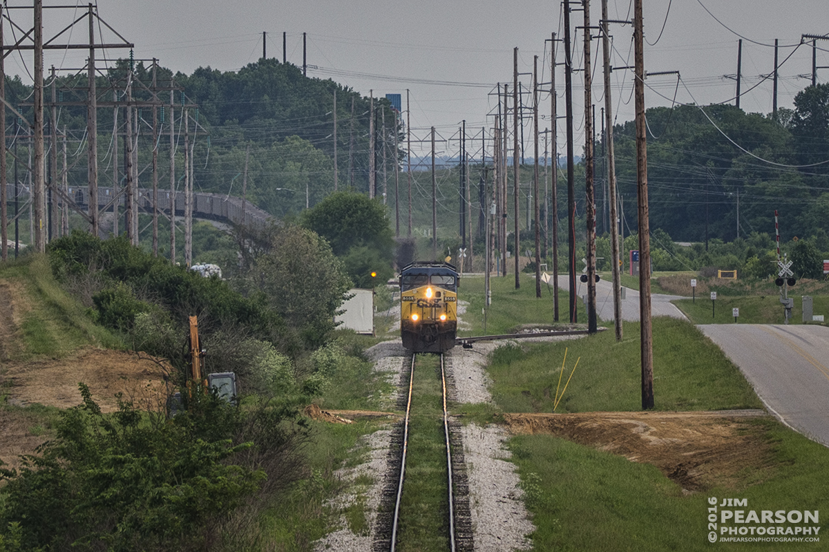 June 1, 2016 – CSXT 555 leads a set of light engines down the Vectren Lead at Abee, Indiana after leaving a string of coal hoppers, (upper left) at Vectren's A. B. Brown Generating Station.  - Tech Info: 1/1250 | f/5 | ISO 280 | Lens: Sigma 150-600 @ 150mm with a Nikon D800 shot and processed in RAW.