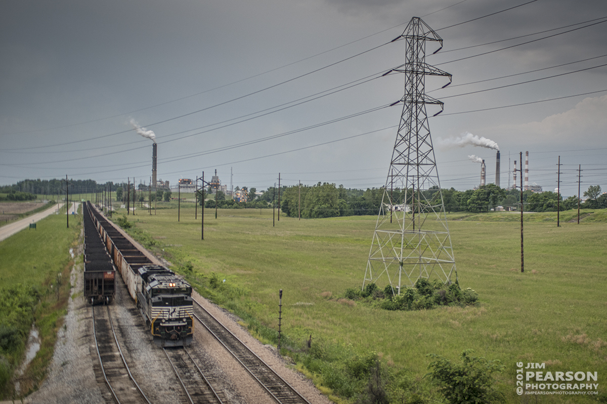 June 1, 2016 – Norfolk Southern 1161 sits on the DPU end of a empty coal train at Squaw Creek as a loaded trains waits to move into the Alcoa Warrick Operations at Yankee Town Dock, just outside of Newburgh, Indiana. - Tech Info: 1/320 | f/2.8 | ISO 900 | Lens: Sigma 24-70 @ 40mm with a Nikon D800 shot and processed in RAW.