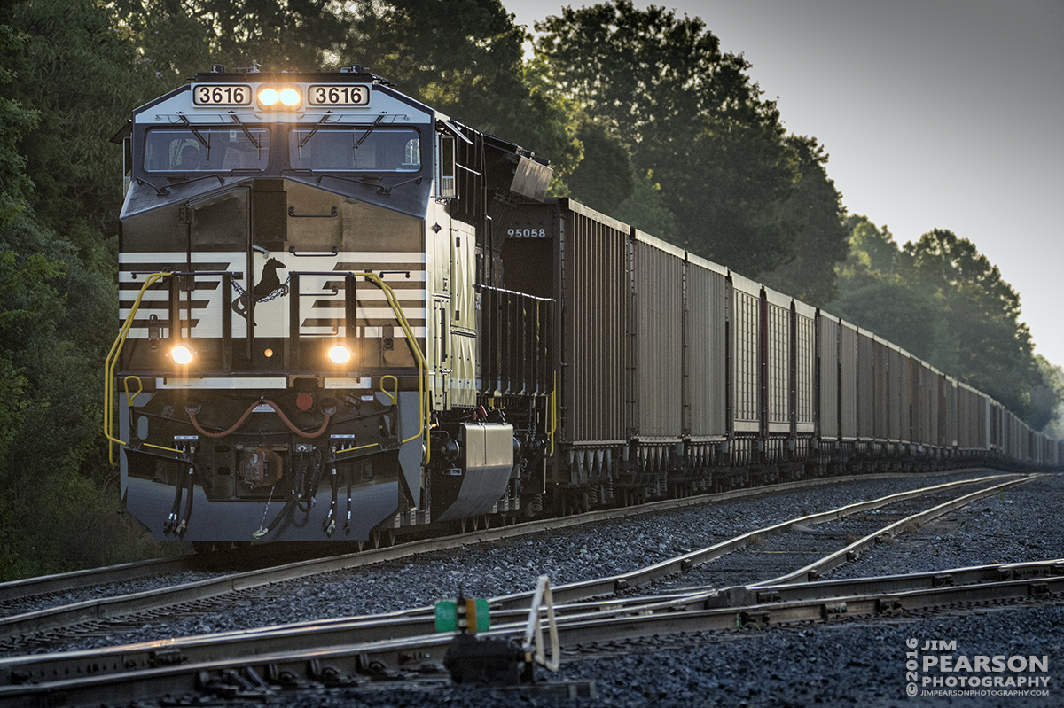 June 8, 2016 – Paducah and Louisville Railways LSX1 prepares to depart from West Yard in Madisonville, Ky with its Norfolk Southern Train, in the early morning light, with a brand new Tier 4 ET44AC 3616 leading its coal train heading for Warrior Coal on it's first revenue run. - Tech Info: 1/2500 | f/5.3 | ISO 2500 | Lens: Sigma 150-600 @ 230mm with a Nikon D800 shot and processed in RAW.