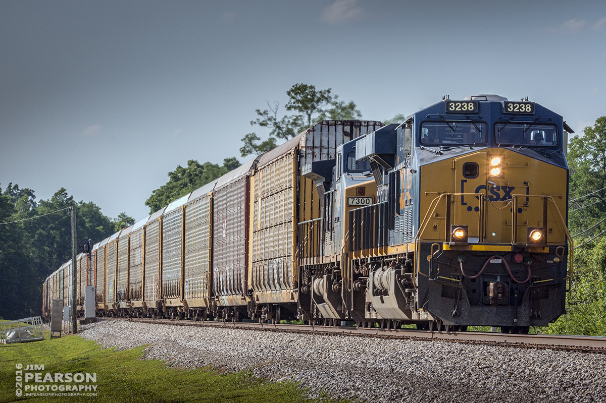 July 1, 2016 – Autorack CSX Q241-30 (Detroit, MI - Louisville, KY) heads south on the Short Line (LCL Subdivision) at Crestwood, Ky. - Tech Info: 1/400 | f/20 | ISO 1100 | Lens: Sigma 150-600 @ 250mm with a Nikon D800 shot and processed in RAW.