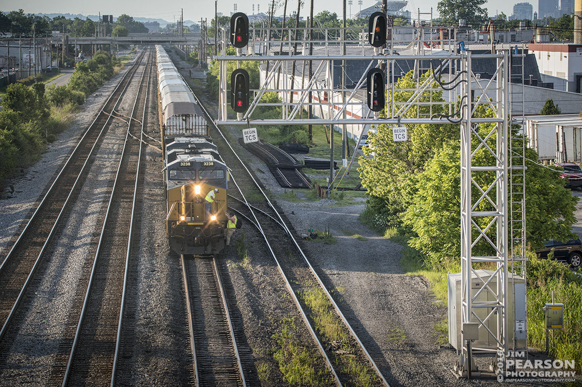July 1, 2016 – The crew of Autorack CSX Q241-30 (Detroit, MI - Louisville, KY) climb off their train at the approach to CSX's Osborn Yard in Louisville, Ky on the Short Line (LCL Subdivision) as they tie their train down after arriving at their destination. - Tech Info: 1/1600 | f/5 | ISO 900 | Lens: Sigma 150-600 @ 150mm with a Nikon D800 shot and processed in RAW.