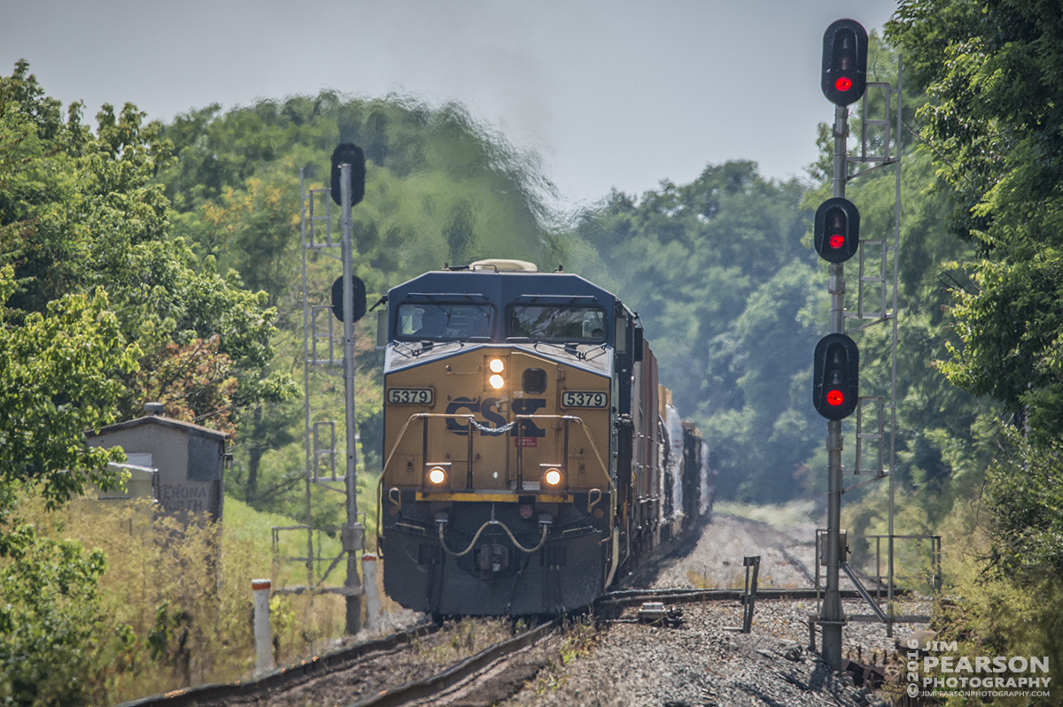July 1, 2016 – A northbound CSX mixed freight passes the signals as it approaches Verona, Ky as it moves north on The Shortline (LCL Subdivison).  - Tech Info: 1/1600 | f/8 | ISO 720 | Lens: Sigma 150-600 @ 600mm with a Nikon D800 shot and processed in RAW.