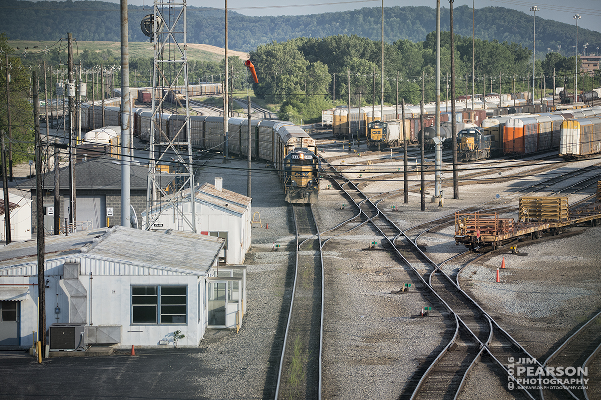 July 1, 2016 – A CSX autorack works on loading automobiles at CSX's Osborn Yard in Louisville, Ky. - Tech Info: 1/1600 | f/5.3 | ISO 500 | Lens: Sigma 150-600 @ 210mm with a Nikon D800 shot and processed in RAW.