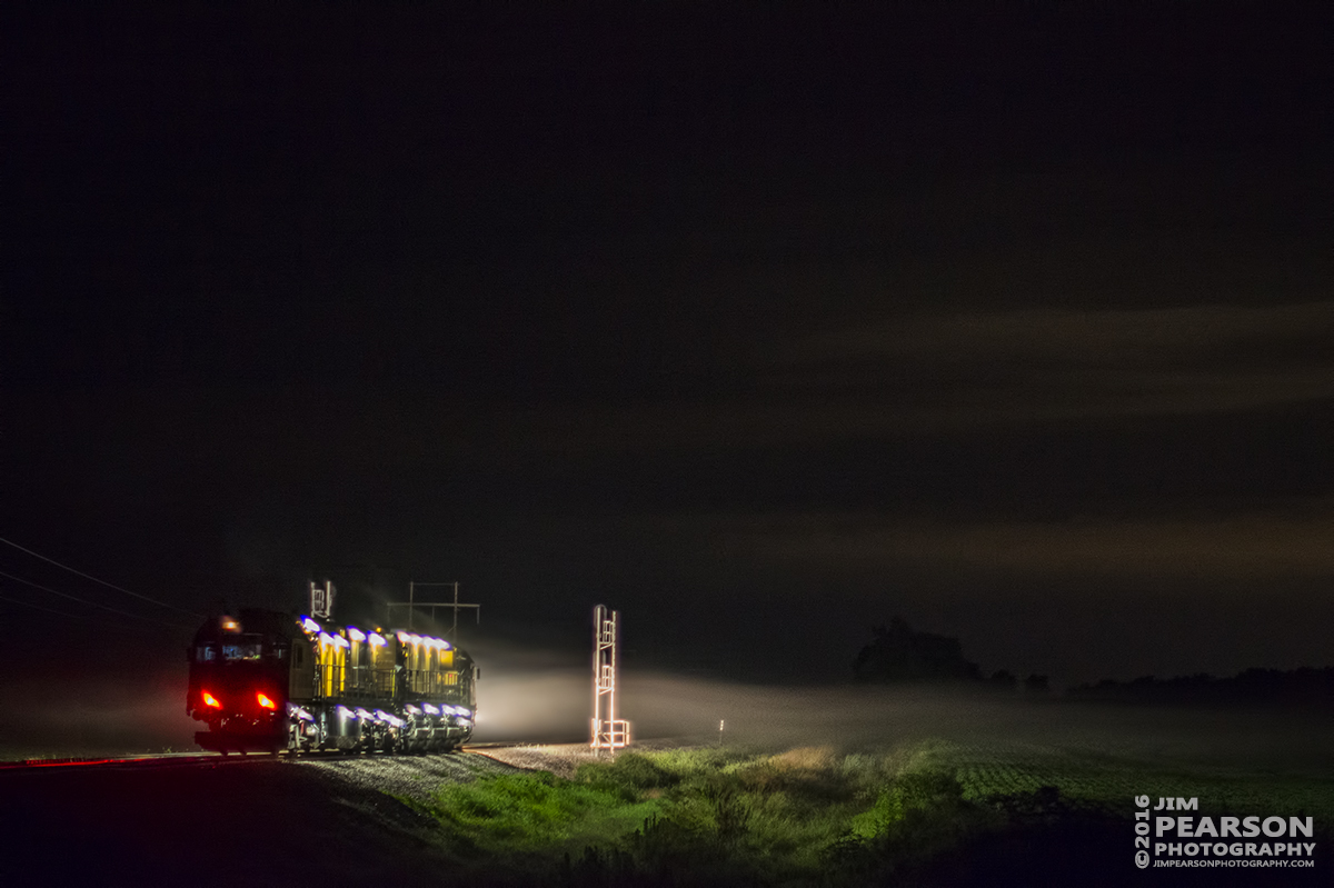July 9, 2016 – LORAM Railgrinder RGS-9 arries at the south end of Rankin Siding at Rankin, Ky to begin it's night of grinding switches and crossings on CSX's Henderson Subdivision. - Tech Info: 1/40 | f/1.4 | ISO 2000 | Lens: Nikon 50mm on a Nikon D800 shot and processed in RAW.